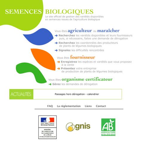 page d'accueil du site web sur les semences biologiques
