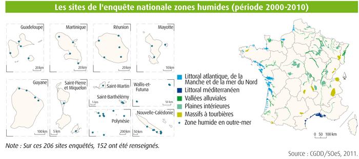 carte des zones humides en France métropolitaine et outre-mer